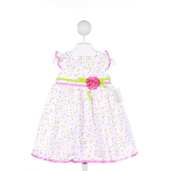 SOPHIE ROSE PINK AND GREEN POLKA-DOT TAFFETA DRESS