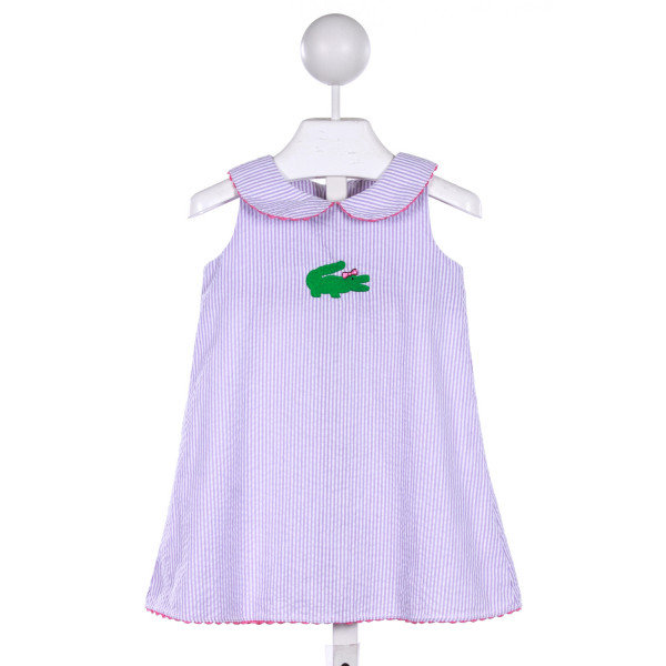 EMILY LACEY  PURPLE SEERSUCKER STRIPED EMBROIDERED CASUAL DRESS WITH RIC RAC
