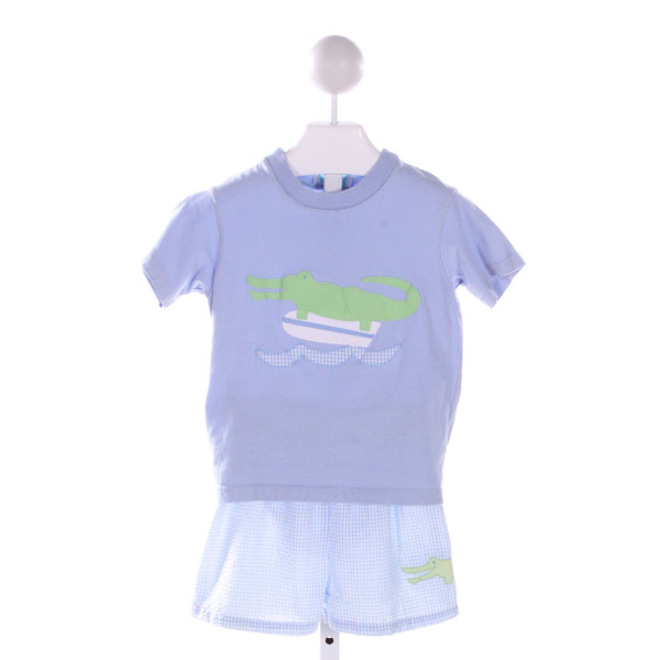 FUNTASIIA TOO 2 PIECE SS APPLIQUE TEE WITH BLUE SEERSUCKER GINGHAM SWIM TRUNKS