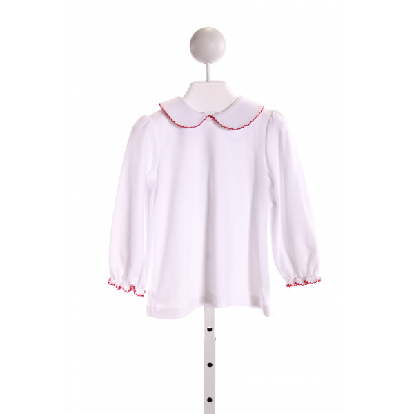 ZUCCINI  WHITE    KNIT LS SHIRT WITH PICOT STITCHING