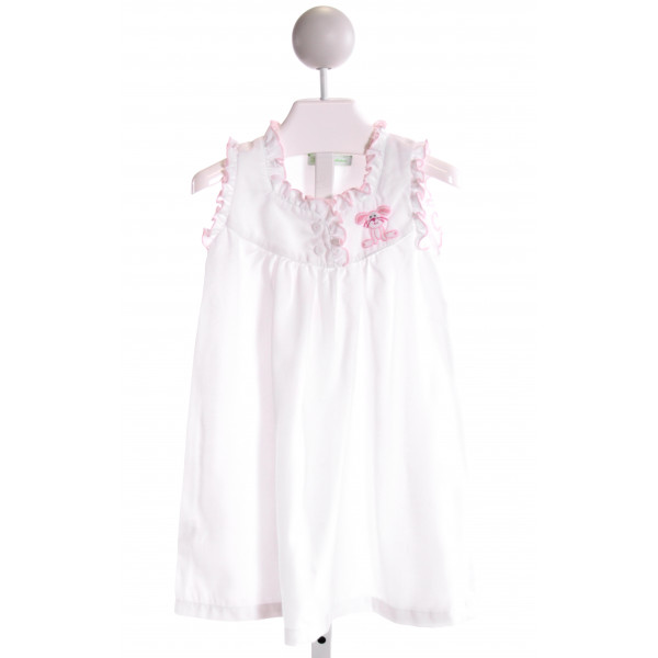 MUGUET COLLECTION  WHITE   EMBROIDERED KNIT DRESS WITH RUFFLE