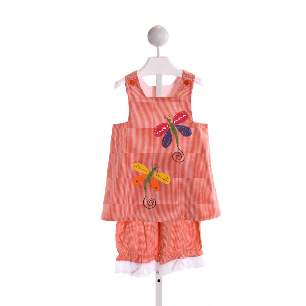 HEAVENLY KIDS  ORANGE  GINGHAM PRINTED DESIGN 2-PIECE OUTFIT WITH RUFFLE