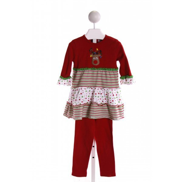 LUIGI  MULTI-COLOR  STRIPED EMBROIDERED 2-PIECE OUTFIT WITH RUFFLE
