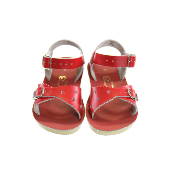 RED SUN SANS/ SALTWATER SANDALS *SIZE 9. EUC - SOME SOLE DISCOLORATION IN A COUPLE SPOTS