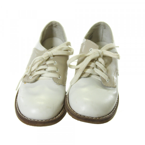 FOOTMATES WHITE AND KHAKI LEATHER SHOES *SIZE TODDLER 9, VGU - MINOR DISCOLORATION