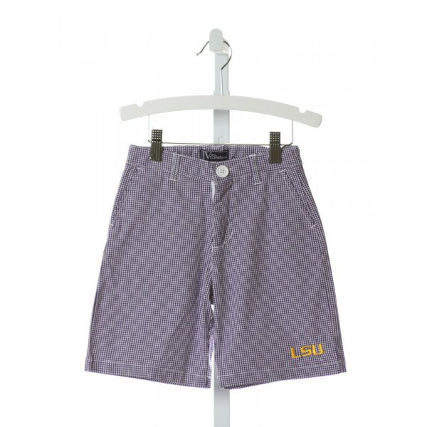 JV CLOTHIERS  PURPLE  GINGHAM EMBROIDERED SHORTS