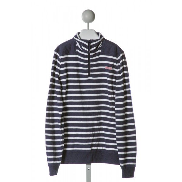VINEYARD VINES  BLUE  STRIPED  QUARTER ZIP PULLOVER