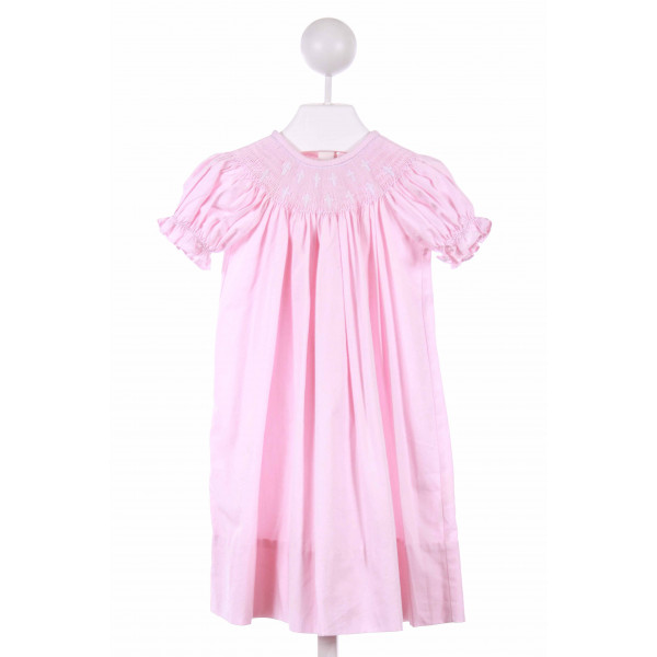 TESS TOO BY LOLLYPOP KIDS  PINK   SMOCKED CASUAL DRESS WITH RUFFLE