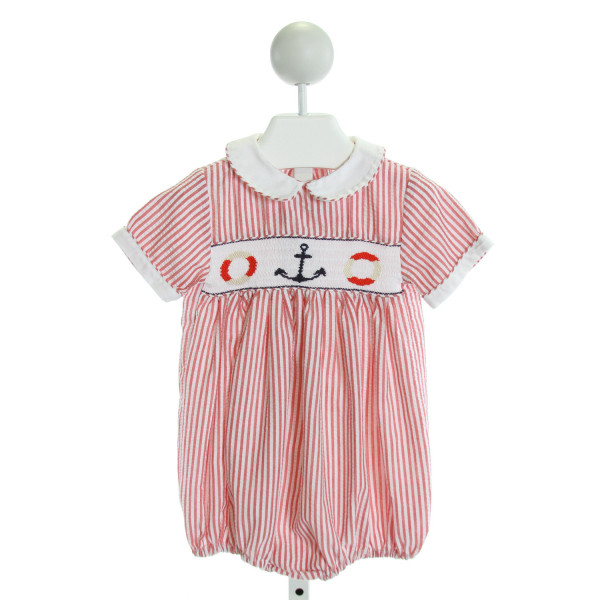 THE PLANTATION SHOP  RED SEERSUCKER STRIPED SMOCKED BUBBLE