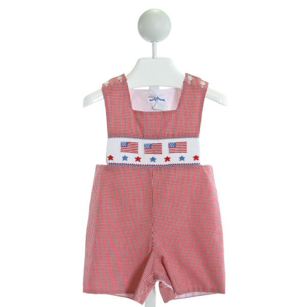 SILLY GOOSE  RED  GINGHAM SMOCKED JOHN JOHN/ SHORTALL