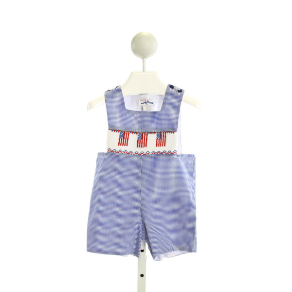 SILLY GOOSE  ROYAL BLUE  GINGHAM SMOCKED JOHN JOHN/ SHORTALL