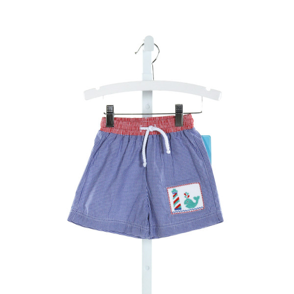 CLAIRE AND CHARLIE  ROYAL BLUE  GINGHAM SMOCKED SWIM TRUNKS
