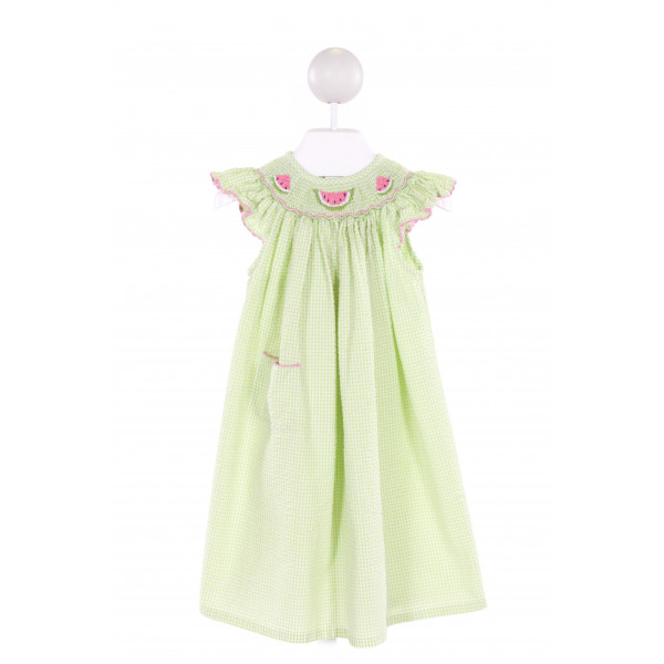 AMANDA REMEMBERED  LIME GREEN SEERSUCKER STRIPED SMOCKED DRESS WITH RUFFLE