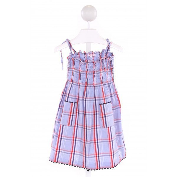 KAYCE HUGHES  MULTI-COLOR  PLAID SMOCKED DRESS WITH RIC RAC