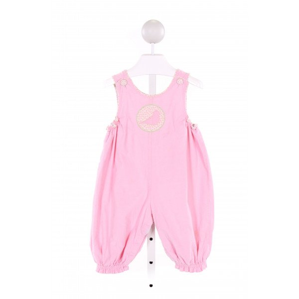 BLOOM  PINK CORDUROY  EMBROIDERED ROMPER WITH RUFFLE