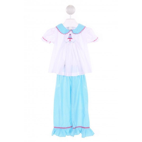 CASTLES & CROWNS  MULTI-COLOR  POLKA DOT SMOCKED 2-PIECE OUTFIT WITH RIC RAC