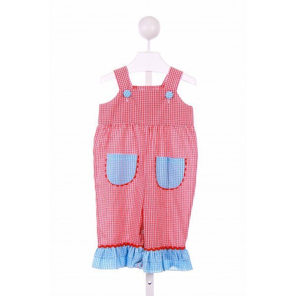 HONESTY  RED  GINGHAM  PARTY LONGALL/ROMPER WITH RIC RAC