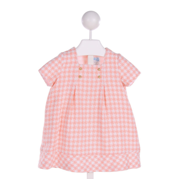 LULI & ME  LT PINK  HOUNDSTOOTH  DRESS