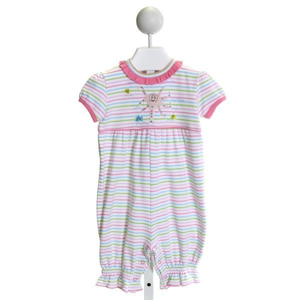 SQUIGGLES  PINK  STRIPED EMBROIDERED KNIT ROMPER WITH RUFFLE