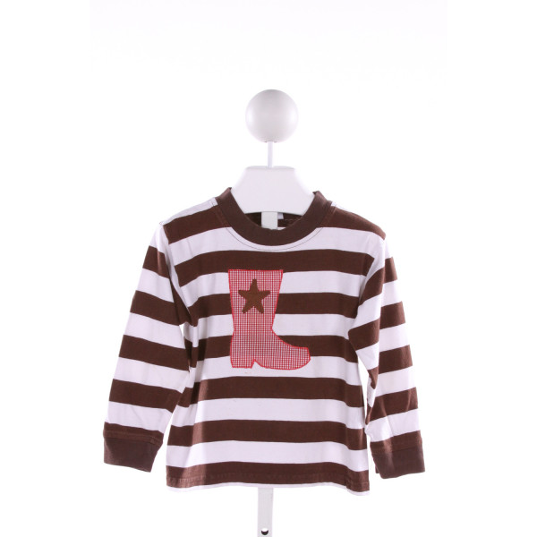 RAGSLAND  BROWN  STRIPED EMBROIDERED KNIT LS SHIRT