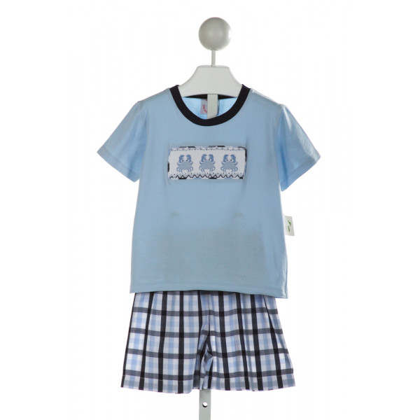 SHRIMP & GRITS  LT BLUE  PLAID SMOCKED 2-PIECE OUTFIT