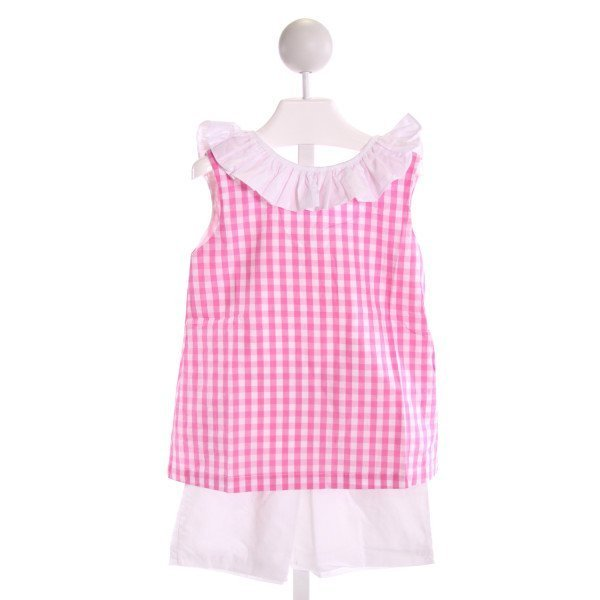 THE OAKS APPAREL   PINK  GINGHAM  2-PIECE OUTFIT WITH RUFFLE