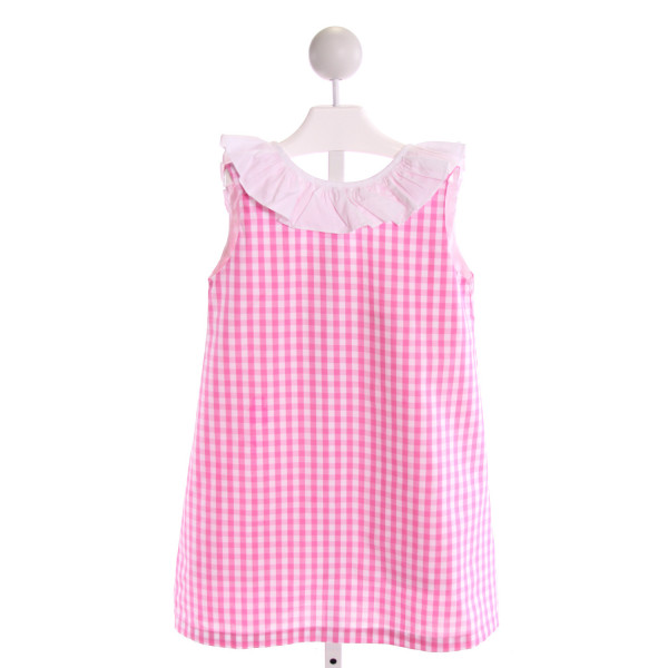THE OAKS APPAREL   PINK  GINGHAM  DRESS WITH RUFFLE