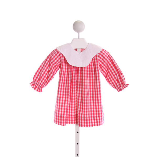 THE OAKS APPAREL   HOT PINK  GINGHAM  DRESS WITH RUFFLE
