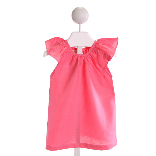 THE OAKS APPAREL   HOT PINK    CLOTH SS SHIRT WITH RUFFLE
