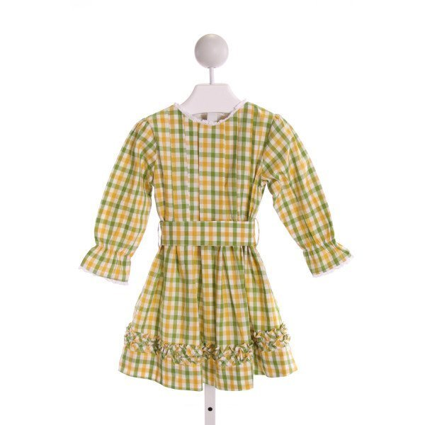 THE OAKS APPAREL   MULTI-COLOR  PLAID  DRESS WITH RUFFLE