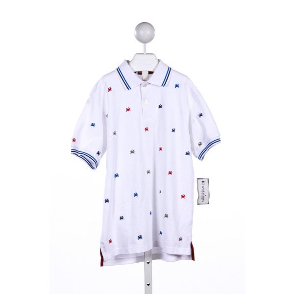 KITESTRINGS WHITE POLO TOP WITH EMBROIDERED CRABS