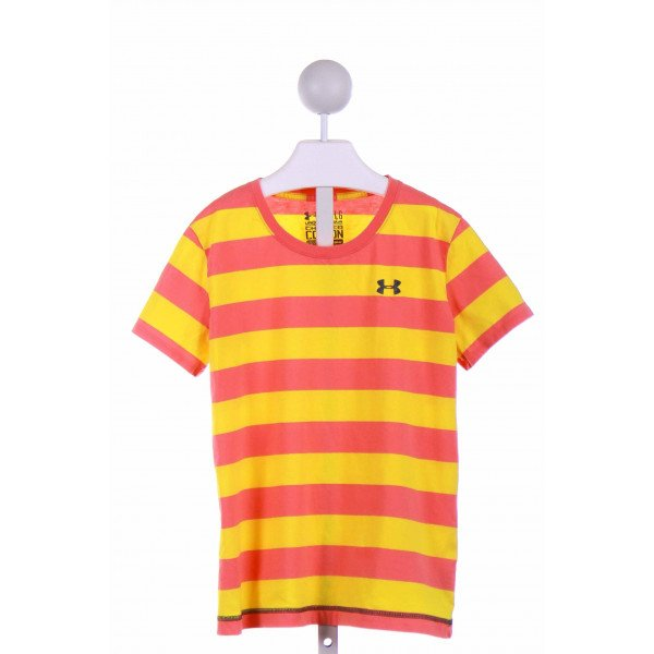 UNDER ARMOUR  YELLOW  STRIPED  KNIT SS SHIRT