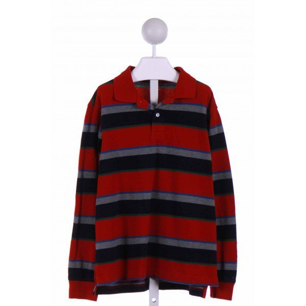 LANDS' END KIDS  RED  STRIPED  KNIT LS SHIRT