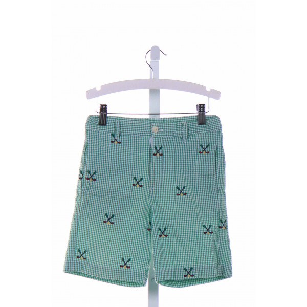 COTTON BLU  GREEN SEERSUCKER GINGHAM  SHORTS