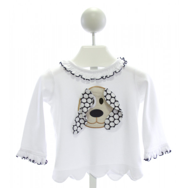 CASTLES & CROWNS  WHITE   EMBROIDERED KNIT LS SHIRT WITH RUFFLE