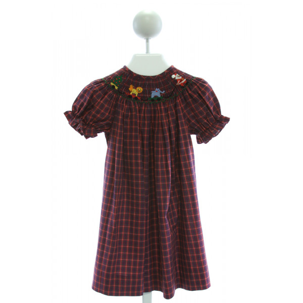 SILLY GOOSE  RED  PLAID SMOCKED DRESS WITH RUFFLE