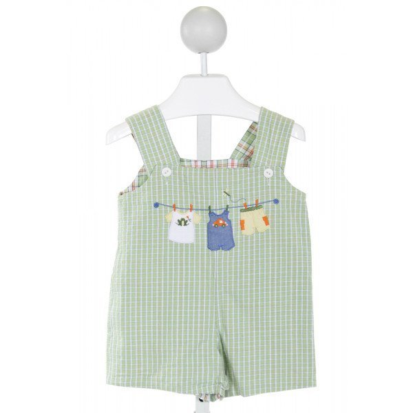 GLORIMONT  LT GREEN SEERSUCKER PLAID EMBROIDERED JOHN JOHN/ SHORTALL