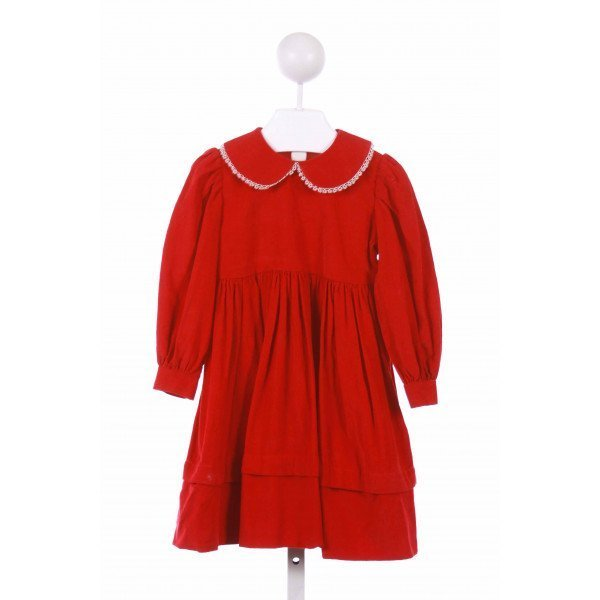 LA JENNS  RED CORDUROY   CASUAL DRESS WITH PICOT STITCHING
