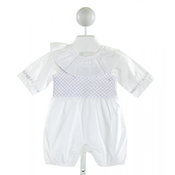 HELEN & HAROLD'S  OFF-WHITE   SMOCKED ROMPER WITH RUFFLE
