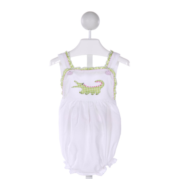 MUGUET COLLECTION  MULTI-COLOR  GINGHAM EMBROIDERED BUBBLE WITH RUFFLE