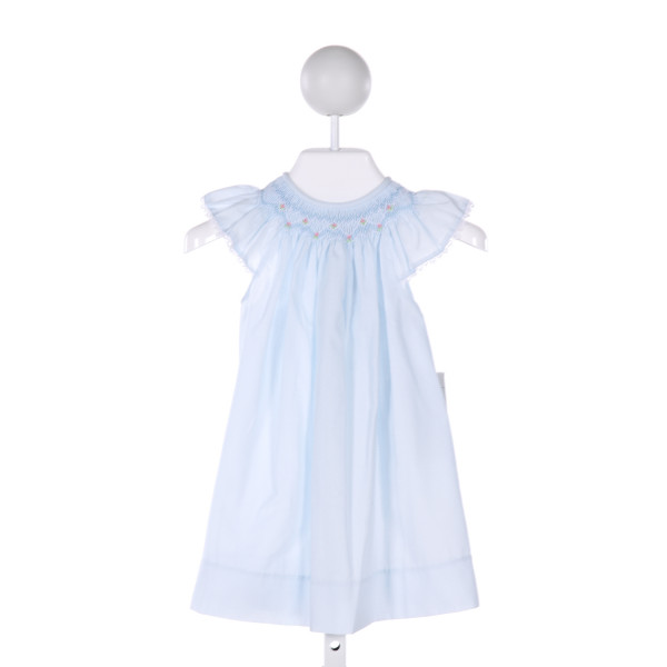 ROSALINA  LT BLUE   SMOCKED DRESS WITH PICOT STITCHING