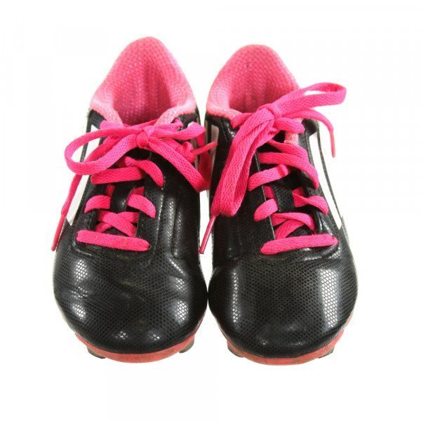 ADIDAS BLACK AND HOT PINK CLEATS *SIZE TODDLER 11.5, VGU - LIGHT DISCOLORATION