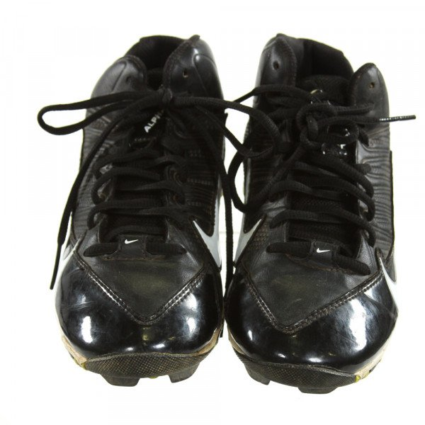 NIKE BLACK CLEATS *SIZE CHILD 3, VGU - MINOR DISCOLORATION