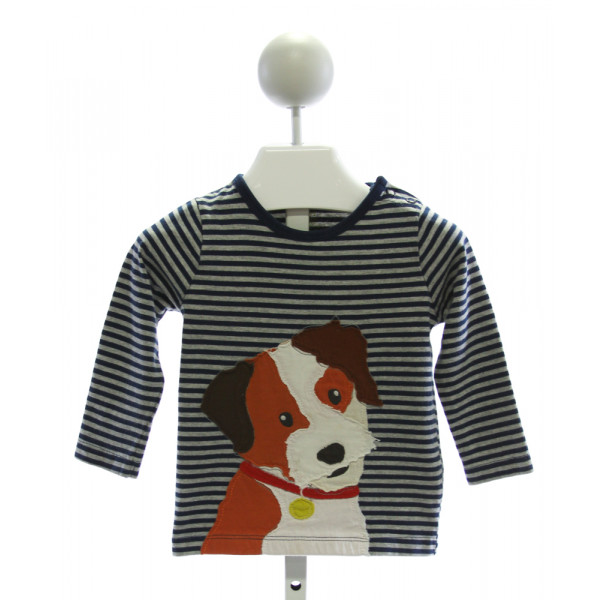 BABY BODEN  NAVY  STRIPED EMBROIDERED KNIT LS SHIRT