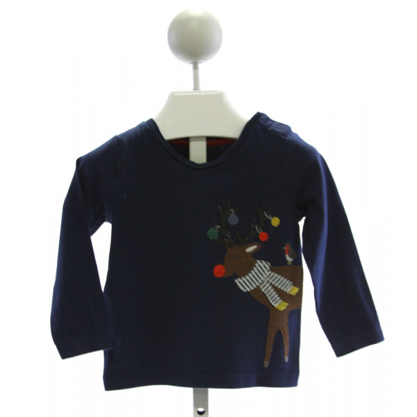 BABY BODEN  ROYAL BLUE   EMBROIDERED KNIT LS SHIRT