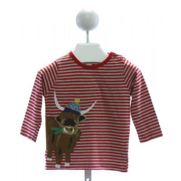 BABY BODEN  RED  STRIPED EMBROIDERED KNIT LS SHIRT