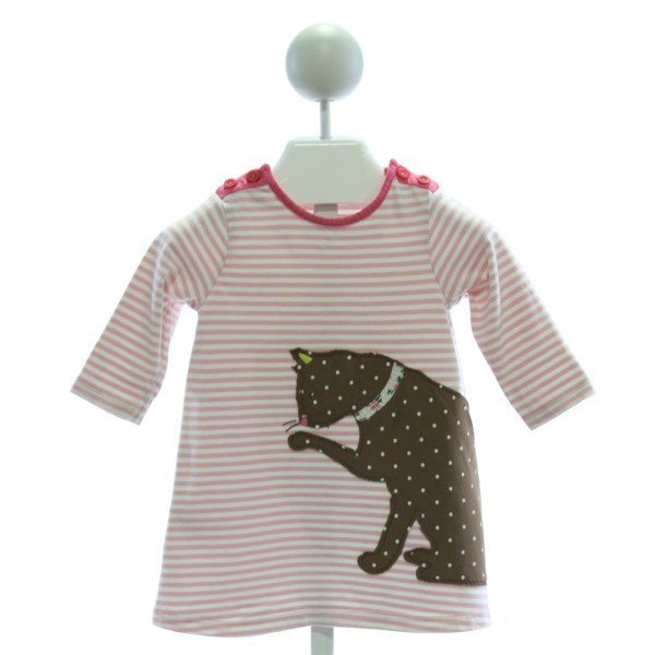 BABY BODEN  LT PINK  STRIPED EMBROIDERED KNIT DRESS