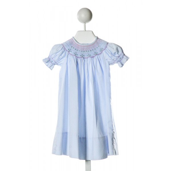 KELLY'S KIDS  LT BLUE   SMOCKED DRESS WITH RUFFLE