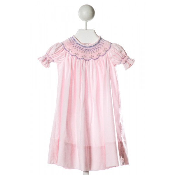 KELLY'S KIDS  LT PINK   SMOCKED DRESS WITH RUFFLE