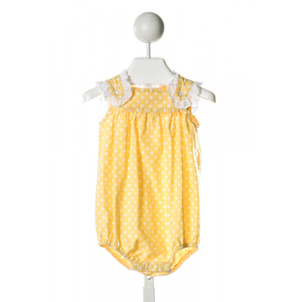 SOUTHERN SUNSHINE KIDS  YELLOW  POLKA DOT  BUBBLE WITH EYELET TRIM